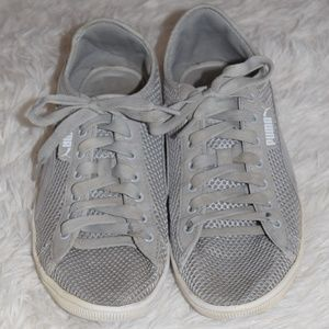 Gray Puma Lace Up Sneakers